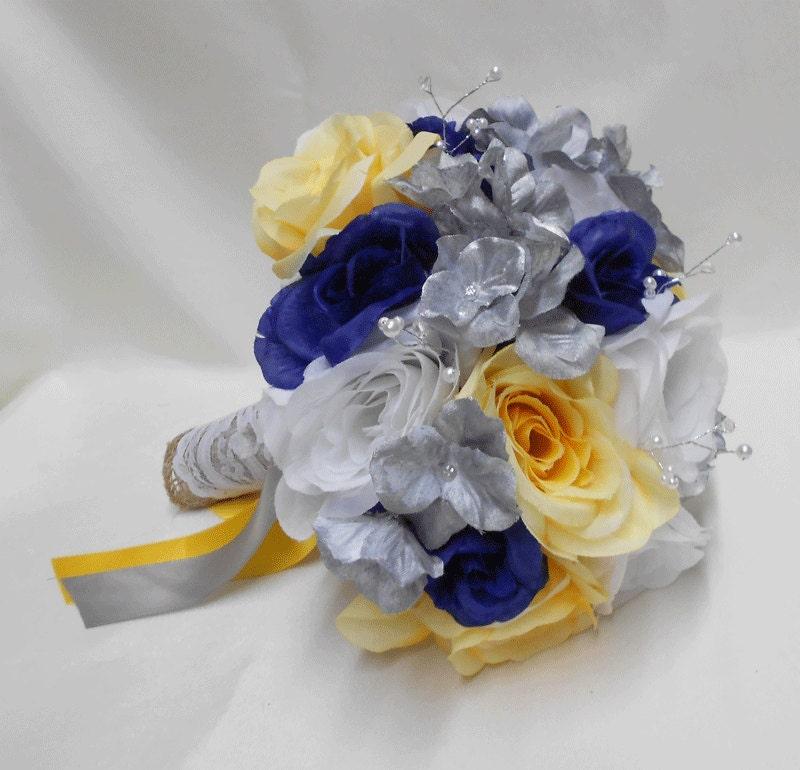 Yellow And Grey Wedding Flowers: Wedding Navy Blue Yellow Grey Silver Bridal Bouquet Silk