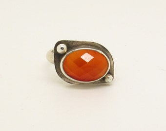 Oval side set Carnelian 2 dot ring choose your size