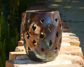 Raku Luminary with Diamond Cutouts - hand thrown, stoneware pottery, candle holder, metalic copper glaze