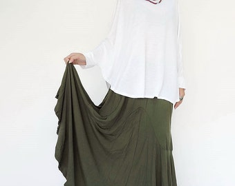 NO.136 Green Rayon Spandex Softly Softly Asymmetrical Skirt, Long Maxi Skirt