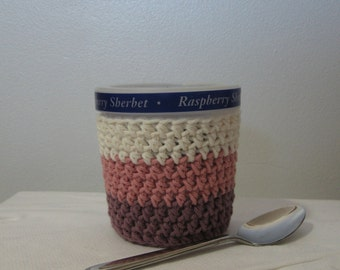 Ice Cream Cozy Pint Cover - Muted Neapolitan Cotton Cup Cozy