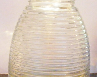 Clear Glass Beehive Container Canister With Lid Huge!