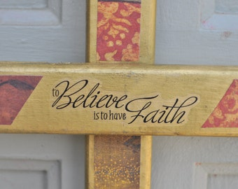 Believe wood cross gold with various decoupage prints