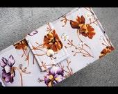 SALE - vegan handmade wallet flowers brown purple yellow