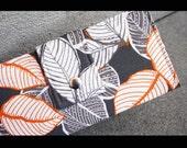 vegan handmade wallet grey and orange leaves