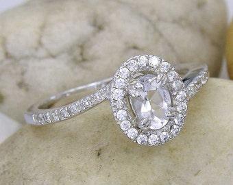 Zircon engagement ring Silver Gold Swarovski Crystal accents zircon jewelry gift idea SKU : 1911