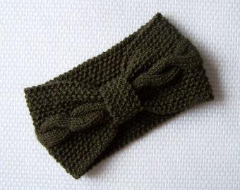 Moss green cable knit headband, turban head warmer, winter spring fashion Ready to ship