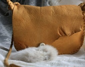 SALE~~! Hand Buckstitched Elk Bag with Raw Edges, Antler Button and Recycled Rabbit Fur Trim