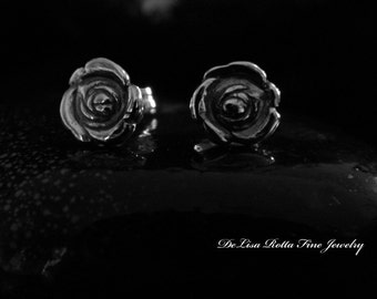 Recycled Silver, Fine Silver, Tiny Rose Post Earrings, Christmas Gifts, Stocking Stuffers, Bridesmaids Gifts