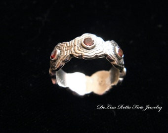 Recycled Silver, Diamond Alternative, Wedding, Engagement, Anniversary, Band, Flower Ring, Amethysts, Garnet, Topaz, Diamond CZ