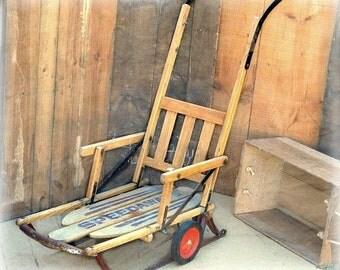 Vintage Rustic Sled, Winter Christmas, Wood Body, Metal Runners, Wheels, Long Handle