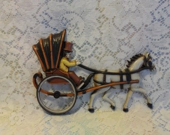 1970's Homco Horse and Buggy Wall Hanging Vintage Decor Made in USA