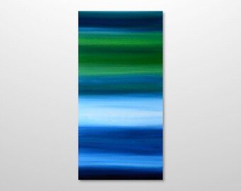 Large 18 x 36 Abstract Seascape Landscape Painting - Original Modern Canvas Blue, Green, White Acrylic Wall Art Home Decor - Vertical Tall