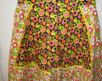 Colourful Retro Style Women's Half Apron with Pockets