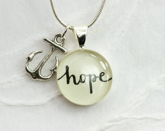 Hope Necklace with Anchor Charm - Inspirational Jewelry, Affirmation Necklace, Unique Word Pendant, New Year's Resolution Word Jewelry
