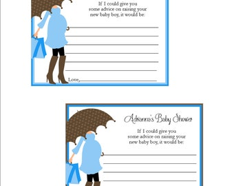 Personalized Baby Boy shower new mommy advice cards - set of 12 - blue and brown