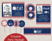 First Birthday Baseball Party Printable Birthday Party Package
