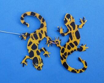 Metal Yellow Gecko Ornament