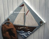 Nautical Decor Sailboat Sailing Theme Sports Wall Hook Hanger Beach Furniture Wall Art Water Ocean Sailor Nursery Boatman Personalized Color