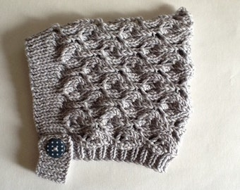 Pale Grey Pixie Bonnet,Hand knitted Lace Pixie Hat,Newborn to 4 years,Made to Order.