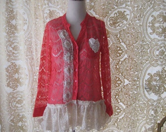 Coral lace shabby shirt, bohemian tunic shirt, boho summer lace tunic blouse, long shirt, size large