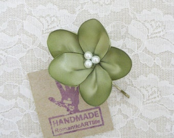 Moss Green Flower Hair Pin. Moss Green Flower Hair Piece. Bridesmaid Hair Accessory.