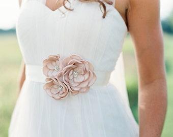 Champagne Sash, Bridal Gown Flower Sash, Wedding Gown Dress Sash {Adrianna}