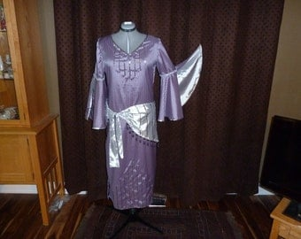 Belly Dance Costume Folkloric Saidi Beledi Galabeya with Hip Scarf Purple and Silver Handmade Size Medium