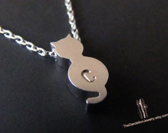 Personalized Necklace Personalized Jewelry Initial Necklace Initial Jewelry Cat Necklace Pendant Charm Gift