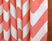 WINTER SALE ⋘ One Pair Designer Curtain Panels 24W or 50W x 63, 84, 90, 96 or 108L Zippy (large chevron) Coral White shown
