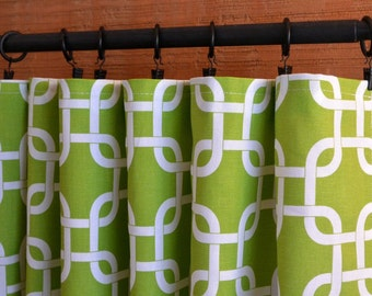 Window Treatments Curtains Drapery Panels 24W or 50W x 63, 84, 90, 96 or 108L Gotcha Chartreuse White shown