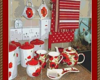 Poppy Kitchen Cross Stitch Pattern
