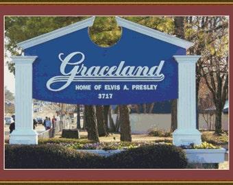Graceland, Memphis Cross Stitch Pattern