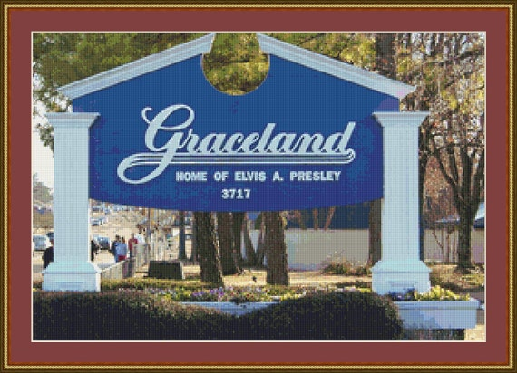 Graceland, Memphis Cross Stitch Pattern /Digital PDF Files /Instant downloadable