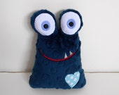 Baby Stuffed Toy Love Monster Navy Blue Minky Embroidered--Made to Order