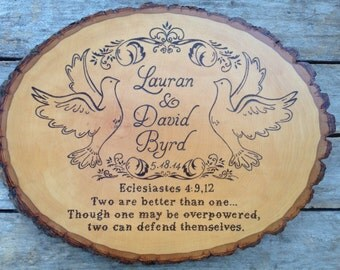 Birds and Bible Quote Custom wood sign wedding gift