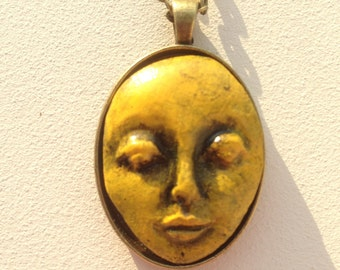 Yellow and Black Polymer Clay Doll Face Pendant Necklace