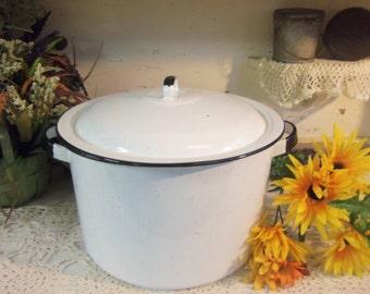 Vintage Graniteware Covered Pot White and Black Rustic Primitive  B166