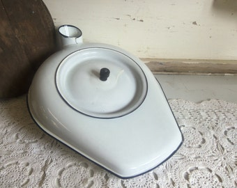 Vintage Cesco Hospital Ware White and Black Lidded Urinal Bedpan Medical Device  B587