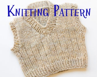 Knitting Pattern Baby Boy Jumper : Toddler Boy Sweater Vest Knitting Pattern - White Polo Sweater