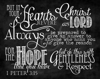 Scripture Art - I Peter 3:15 Chalkboard Style