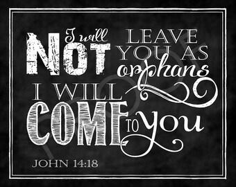 Scripture Art - John 14:18 Chalkboard Style