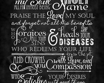 Scripture Art - Psalm 103:1-5 Chalkboard Style