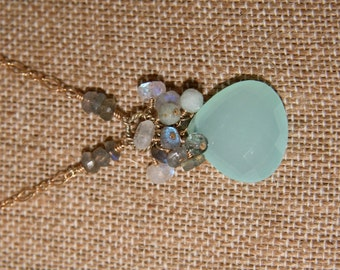 "Kimi Necklace: Large aqua chalcedony pendant w labradorite, moonstone & aquamarine cluster of wire wrapped beads on 14k gf chain - 18"""
