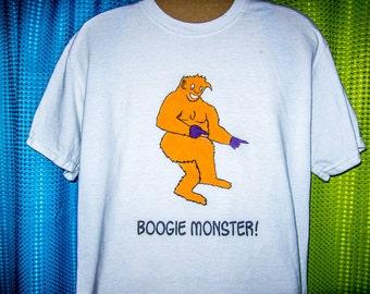 "Boogie Monster!"" Adult Vegan Tee Shirt"