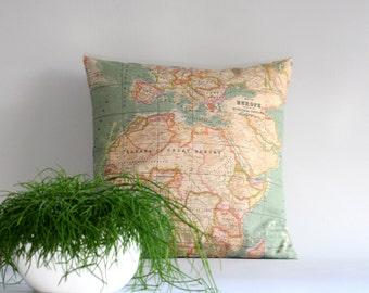 World Map pillow cover – Throw pillow cover – Cushion cover - 16x16 18x18 20x20 24x24 26x26 inch – map cushion