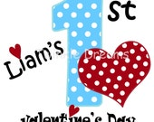 Baby Boy, My First Valentine's Day, DIY, Printable, Digital Image,  Iron-on, transfer, Blue & Red,  T shirt custom