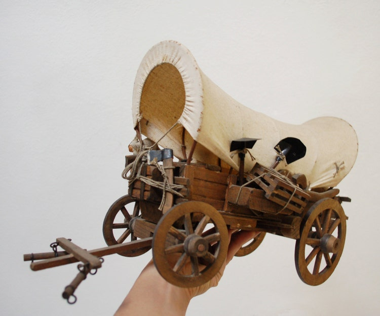 Antique 1900 Covered Wagon Model Old West By Skomoroki