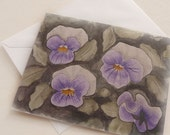 Watercolor notecard pansy garden single card and envelope eco friendly
