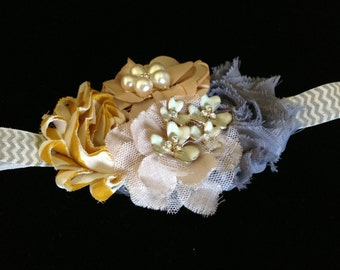 Vintage charm - beautifully detailed vintage style gray, tan and mustard headband - any size, made to order